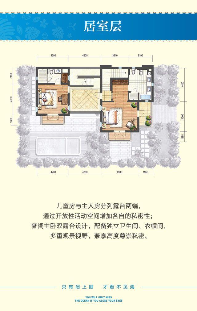 奢适别墅C户型 5房2厅1厨5卫 建筑面积约200平 居室层