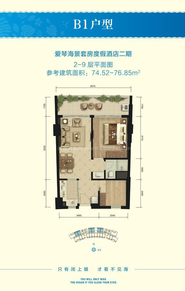 B1户型 1房2厅1厨1卫 建筑面积约74.52-76.85平