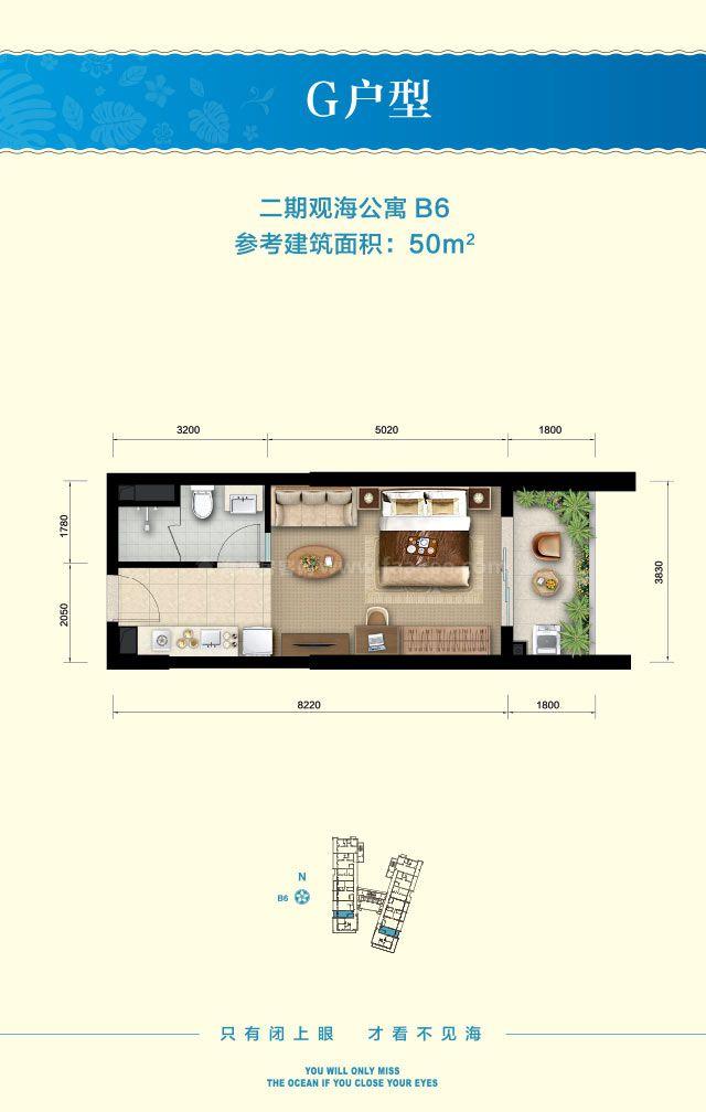 二期观海公寓 G户型 1房1厅1厨1卫 建筑面积约50平