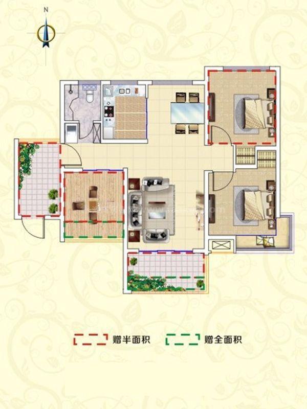 B1户型-3室2厅2卫1厨-102㎡