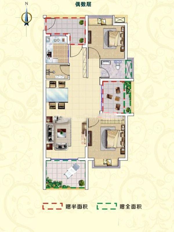 B2户型-3室2厅2卫1厨-104㎡