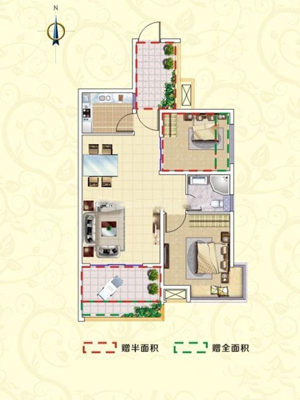 A1户型-2室2厅1卫1厨-84㎡