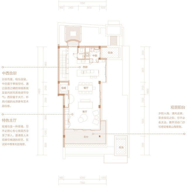 二期别墅 A3户型 4房2厅4卫 建筑面积约350平.