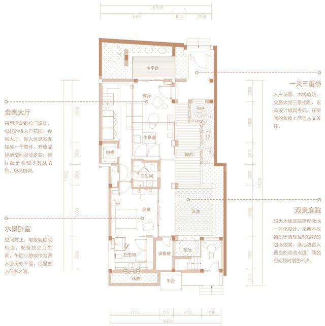 二期别墅 A3户型 4房2厅4卫 建筑面积约350平