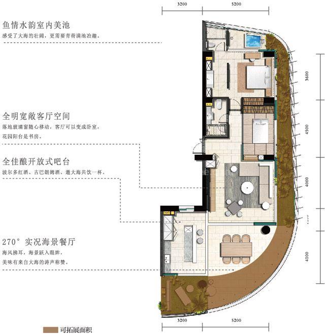 海景公寓 A1户型 2房2厅2卫1厨 建筑面积约140平