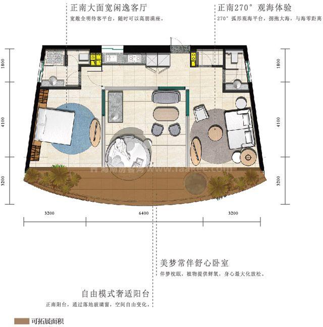海景公寓 C1户型 2房2厅2卫1厨 建筑面积约95平