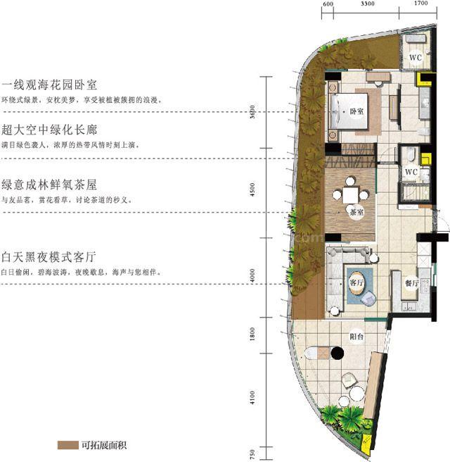 海景公寓 C2户型 2房2厅2卫1厨 建筑面积约106平