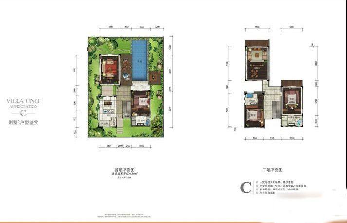 别墅C 户型2室1厅1卫1厨 建筑面积:270.50㎡