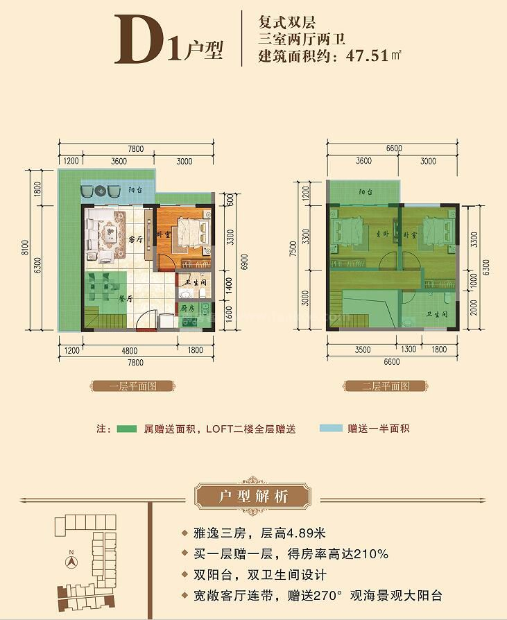 D1户型 复式双层 3房2厅2卫1厨 建筑面积约47.51平