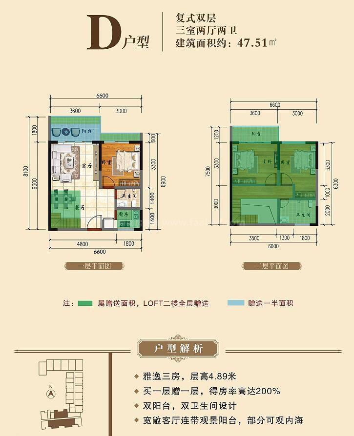D户型 复式双层 3房2厅2卫1厨 建筑面积约47.51平