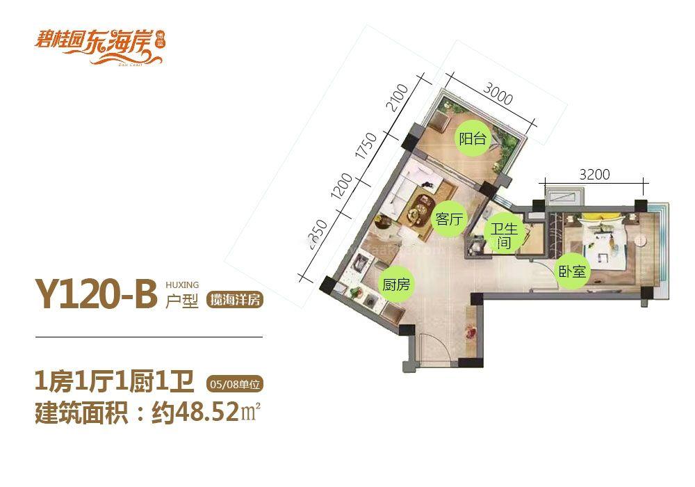 揽海洋房Y120-B户型 1房1厅1卫1厨 48.52㎡