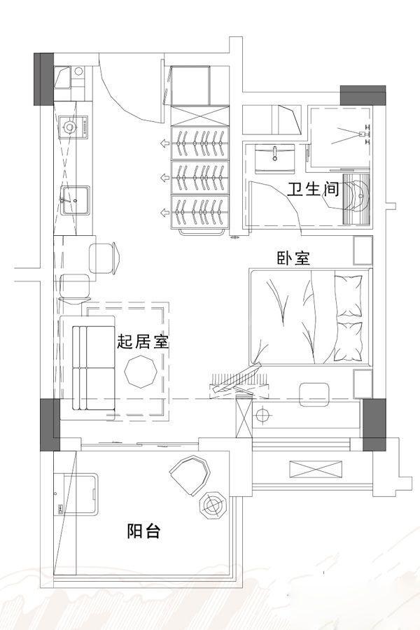 揽海洋房Y120C户型 1房1厅1卫1厨 39.12㎡