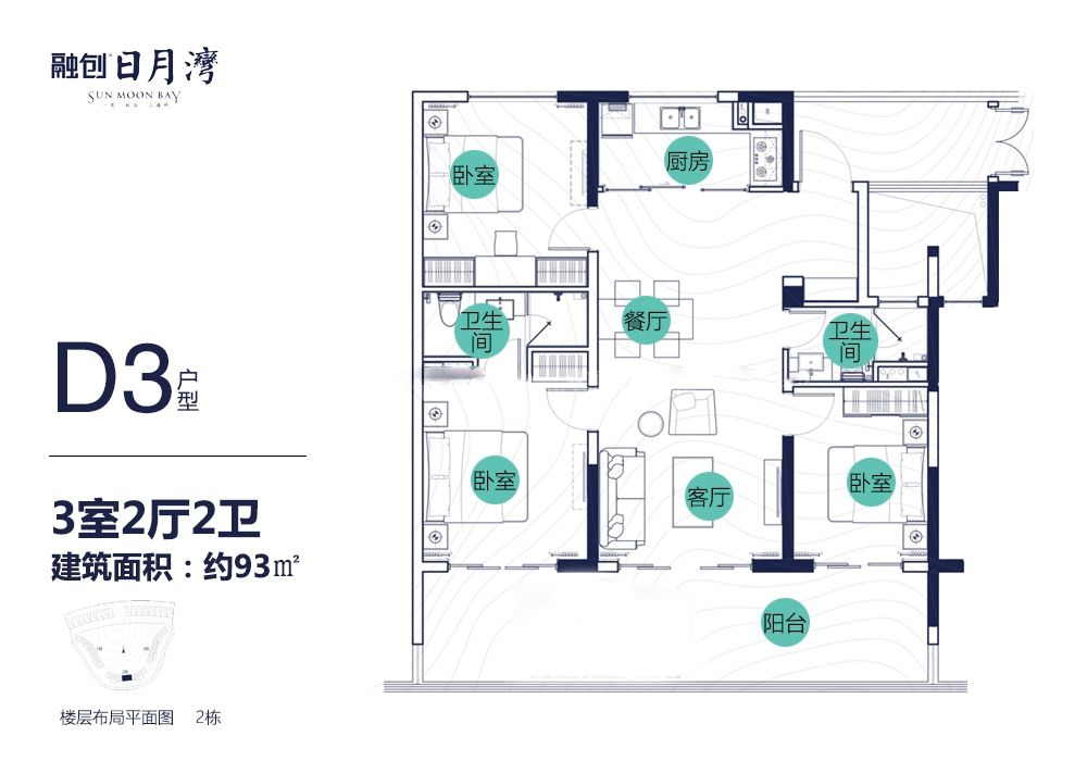 D3户型 3房2厅2卫 建面93㎡