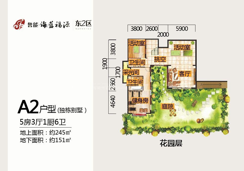 东2区独栋别墅A2户型花园层 5房3厅1厨6卫 245㎡