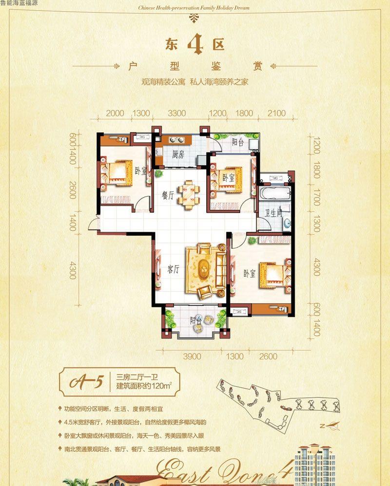 东四区A-5户型图 3室2厅1卫  建筑面积120㎡