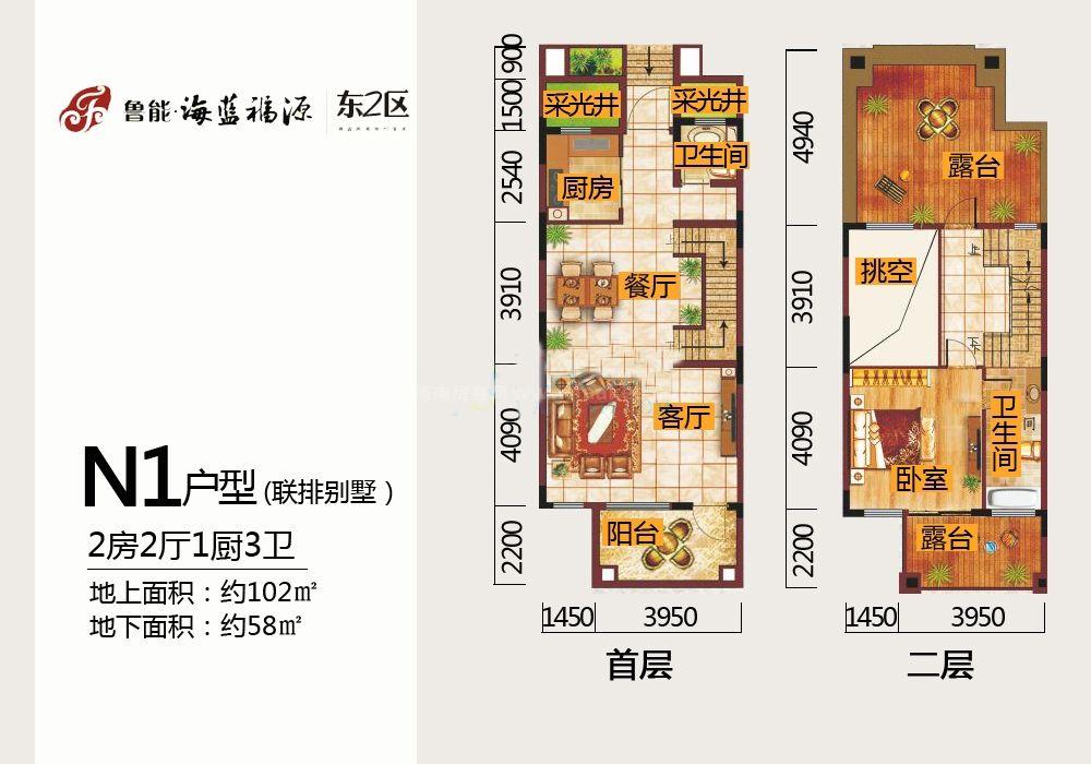 东2区联排别墅N1户型一、二层 2房2厅1厨3卫102㎡