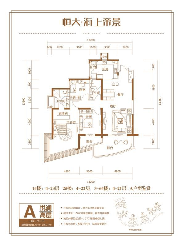 1-6号楼A户型 3房2厅1厨2卫 176.40-178.77㎡