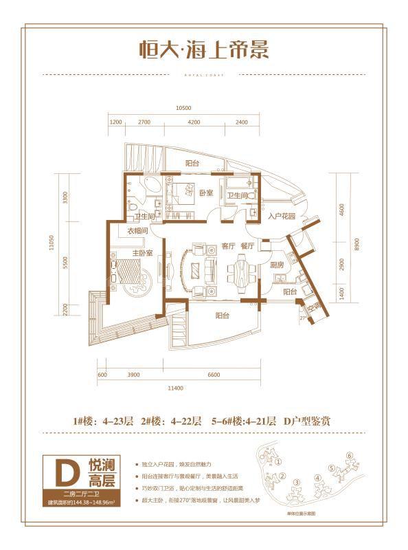 1号楼D户型 2房2厅1厨2卫 144.38-148.96㎡