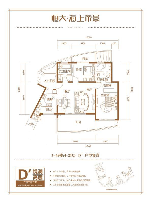 5-6号楼D户型 2房2厅1厨2卫 145.45-148.36㎡