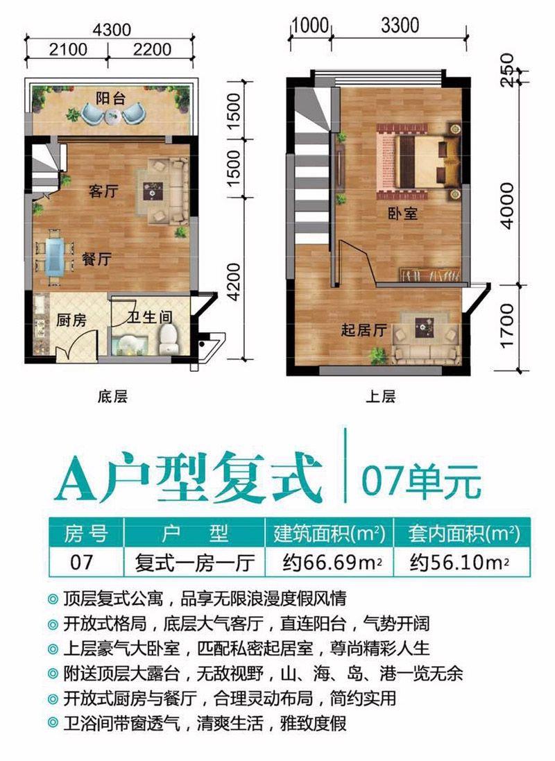 A户型复式图 1室1厅1卫1厨  建筑面积66.69㎡