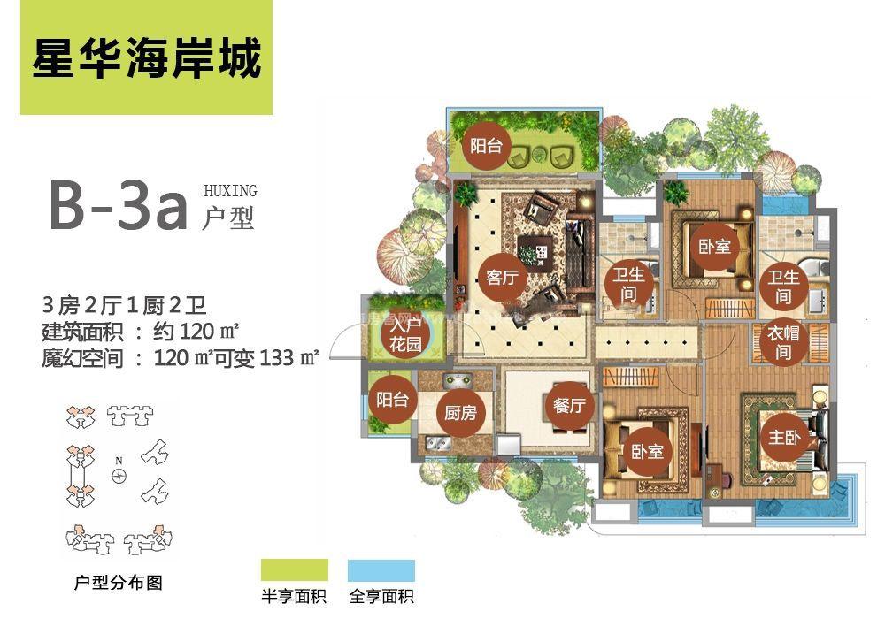 B-3a户型 3房2厅1厨2卫 建面120㎡