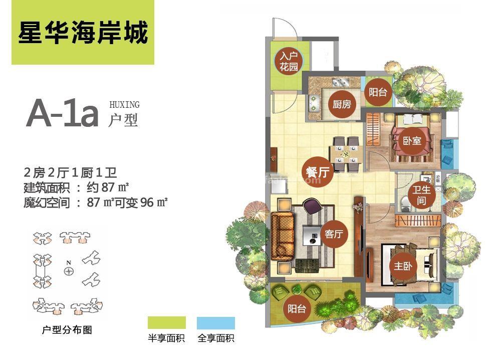 A-1a户型 2房2厅1厨1卫 建筑面积87㎡