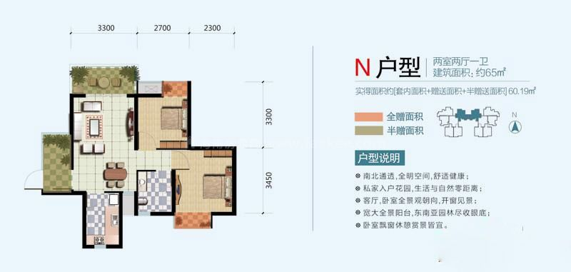 N户型 2室2厅1卫1厨  建筑面积65㎡