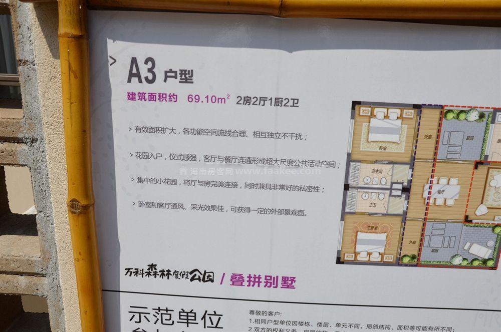 4期疊拼別墅A3戶型 2房2廳2衛1廚 69㎡樣板間:戶型展示