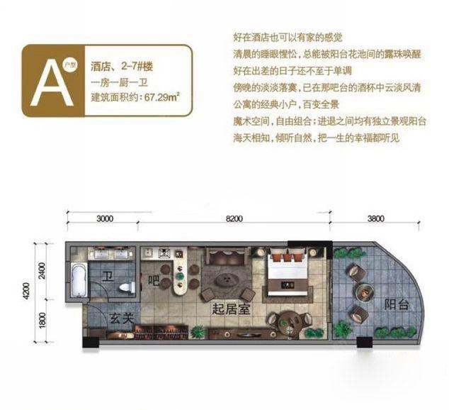 酒店2-7#A户型 1室0厅1卫1厨 建面67.29㎡