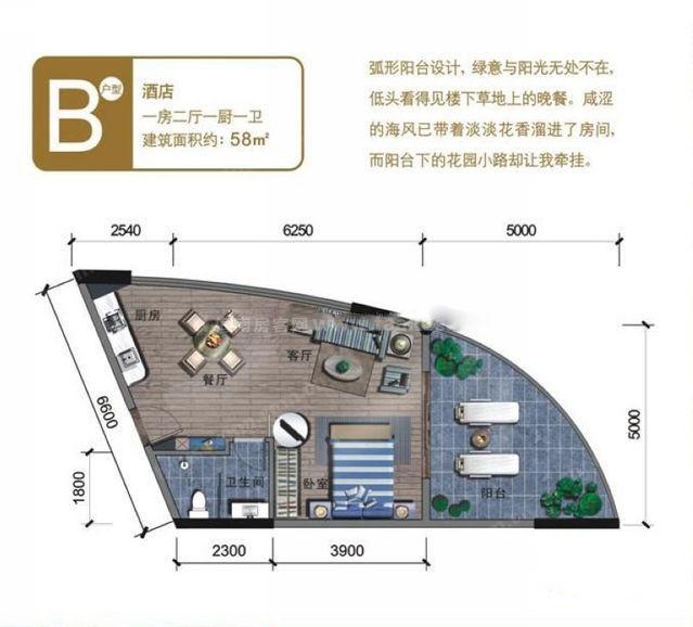 酒店B户型 1室2厅1卫 建面58㎡