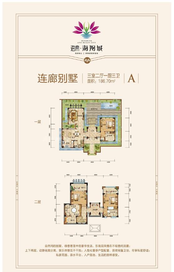 连廊别墅 A户型 3房2厅1厨3卫 建筑面积约186.70平