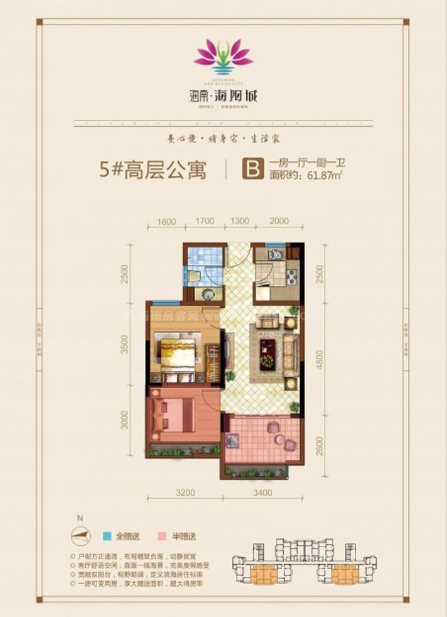 高层公寓 B户型 1房1厅1厨1卫 建筑面积约61.87平