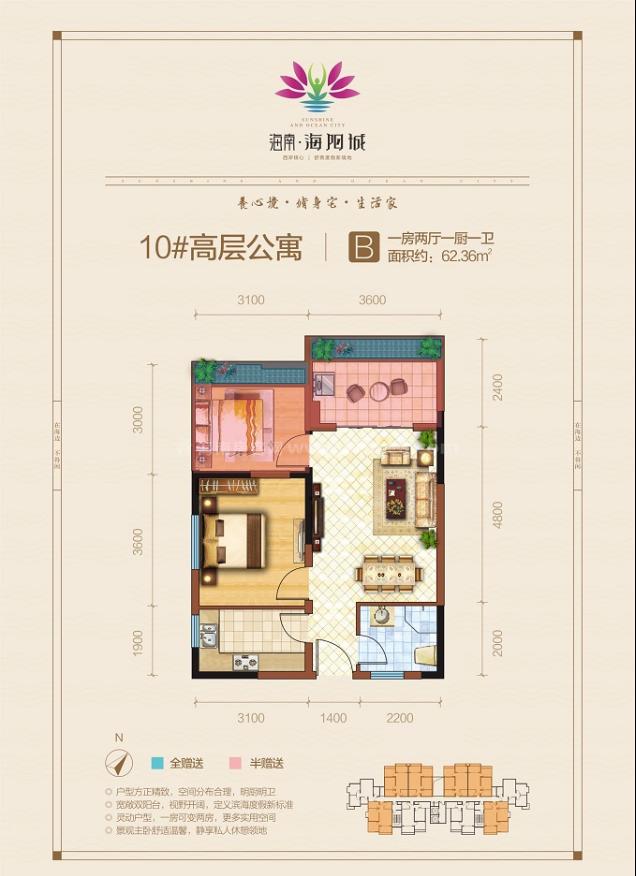 高层公寓 B户型 1房2厅1厨1卫 建筑面积约62.36平