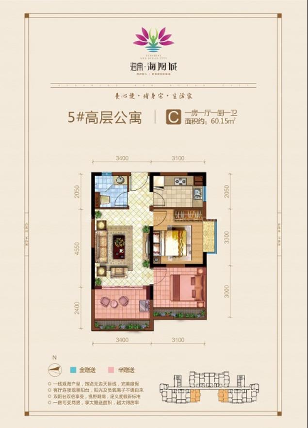 高层公寓 C户型 1房1厅1厨1卫 建筑面积约60.15平
