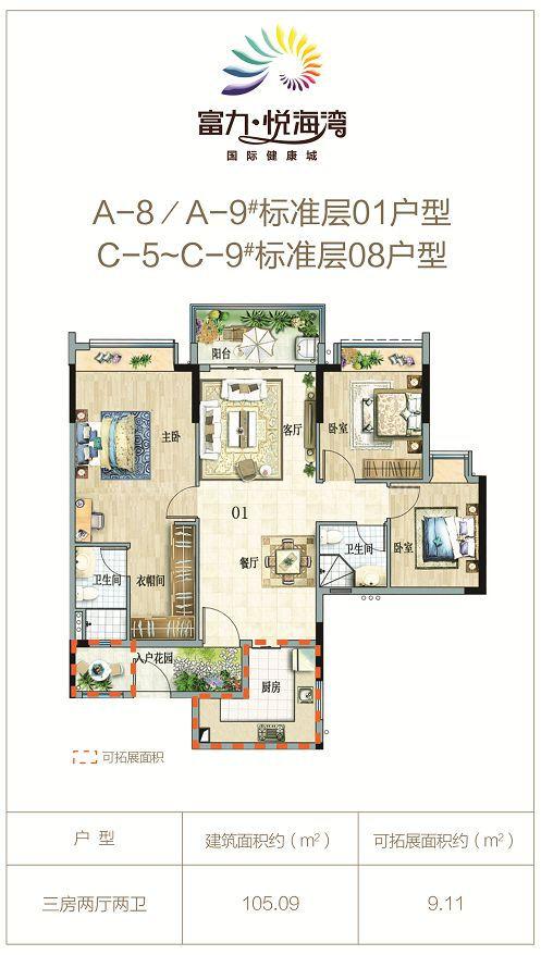 01、08户型 3房2厅2卫1厨 建筑面积约105.09平