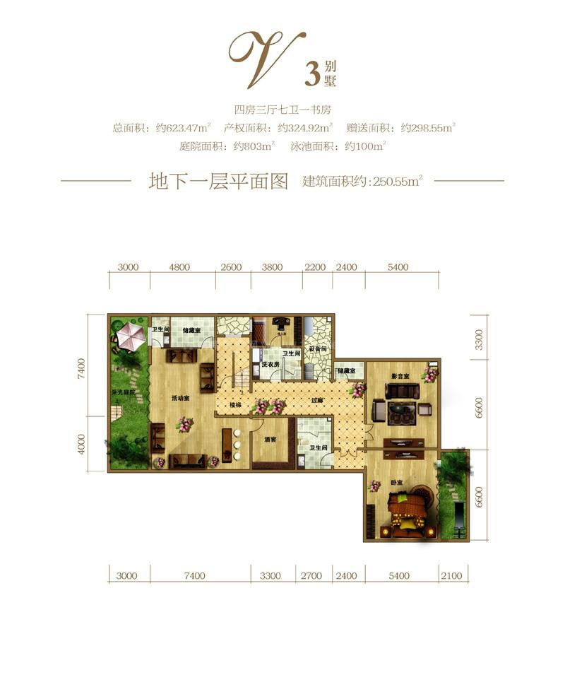 别墅V3户型(地下一层) 1室2卫  建筑面积250.55㎡