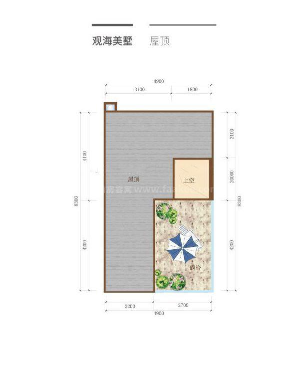 观海美墅 3房2厅1厨3卫  屋顶