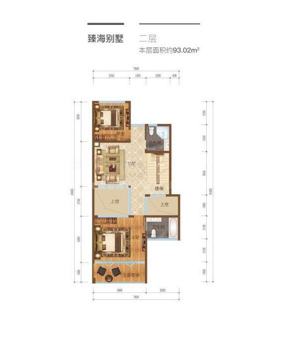 臻海别墅户型-4室4厅3卫1厨 93.02平