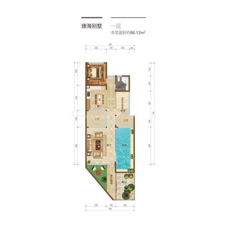臻海别墅户型-4室4厅3卫1厨 86.12平