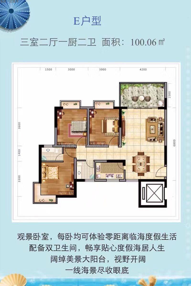 E户型图 3室2厅2卫1厨 建筑面积100.06㎡