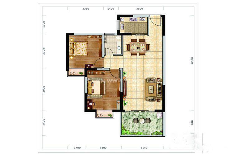 F户型 2房1厅1厨1卫 83.14㎡