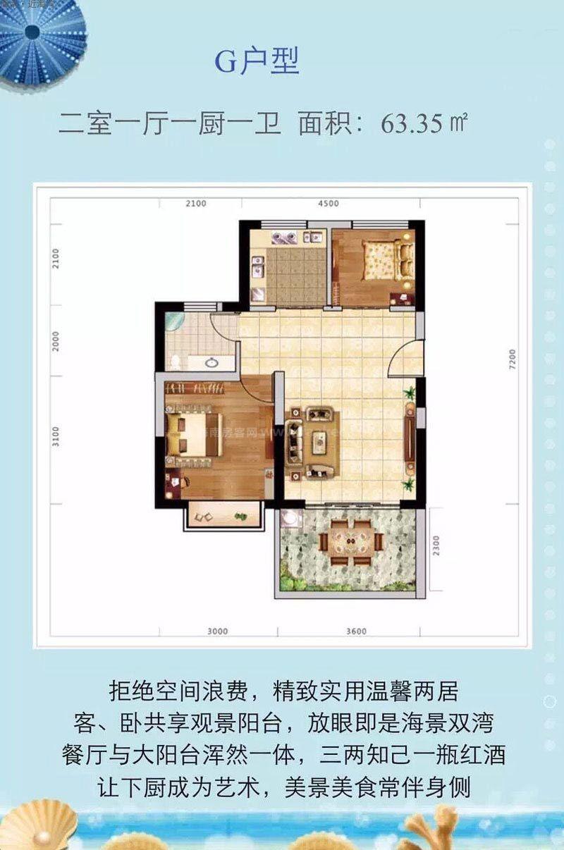 G户型图 2室1厅1卫2厨 建筑面积63.35㎡