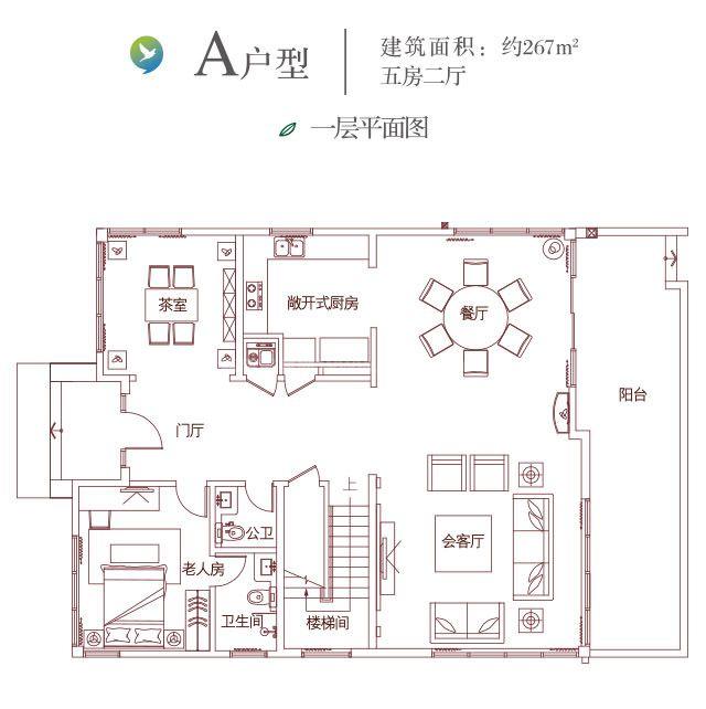 三十三颗墅A户型 首层 5房2厅5卫1厨 267㎡