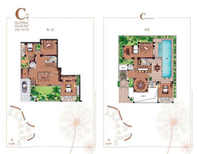 碧桂园齐瓦颂别墅C5户型负一层、首层 5室3厅1厨6卫 建筑面积413.00㎡