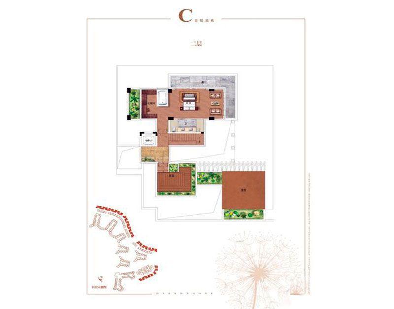 碧桂园齐瓦颂别墅C户型二层 5室3厅1厨6卫 建筑面积413.00㎡