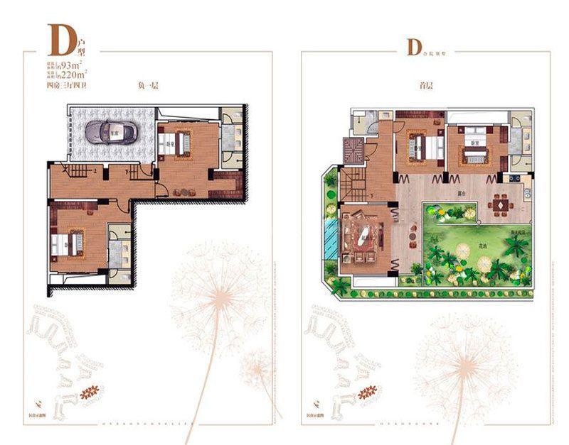碧桂园齐瓦颂别墅D户型 4室3厅1厨4卫 建筑面积220.00㎡
