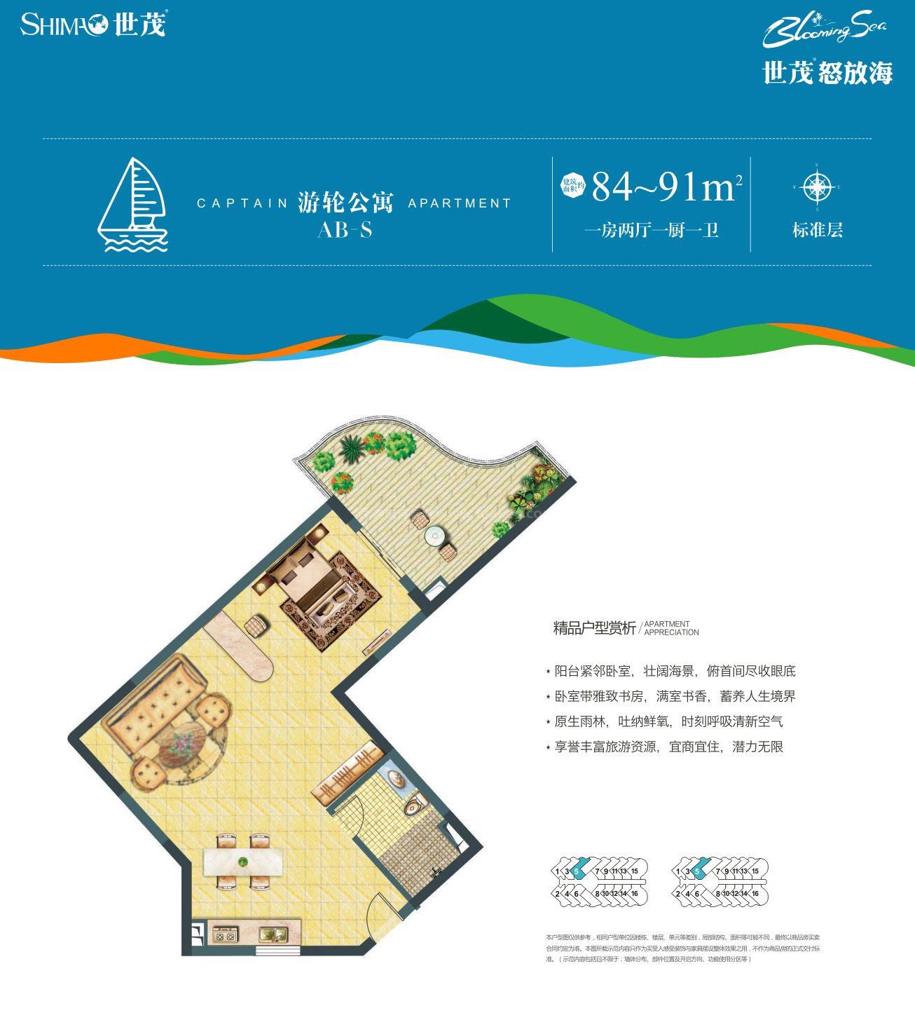游轮公寓AB-S户型 1房2厅1厨1卫 建筑面积约84-91㎡