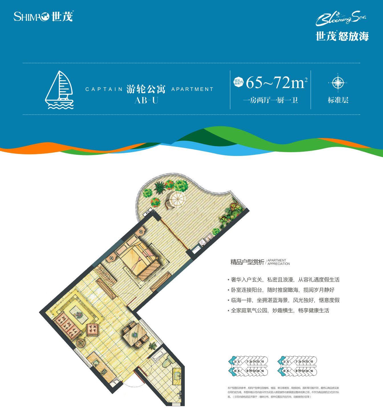 游轮公寓AB-U户型 1房2厅1厨1卫 建筑面积约65-72㎡