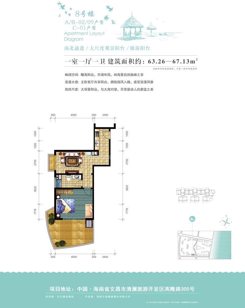 8号楼A、B-02、09户型图 1室1厅1卫1厨  建筑面积63.26-67.13㎡