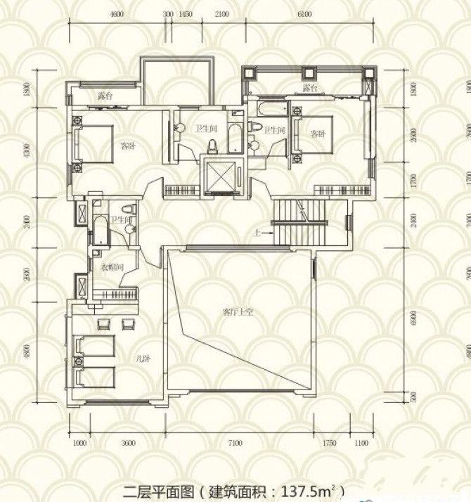 独栋别墅A户型 5房3厅4卫 455.2㎡ 二层